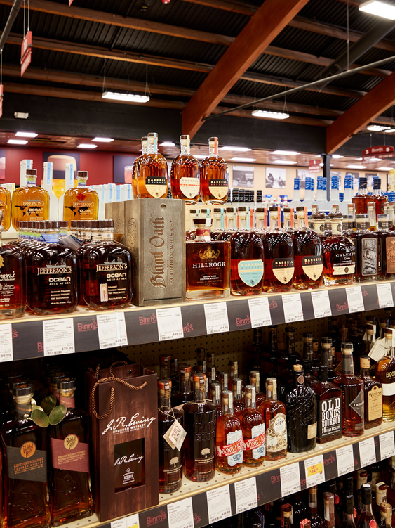 The spirits selection at Binny's (Lincolnwood location shelves above) has diversified greatly since Pontoni's arrival in 1993.