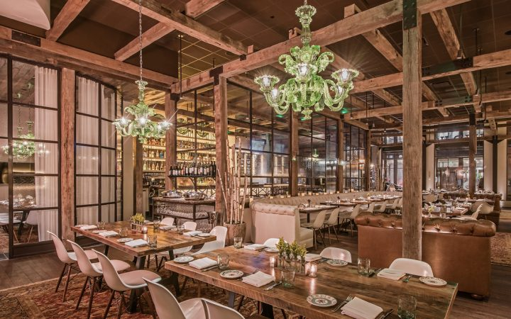 The Guild House (interior pictured) from Cameron Mitchell Restaurants is an artisanal venue that offers a seasonal, farm-to-table menu. The restaurant partnered with Columbus-based Watershed Distillery on a personalized gin for the premise.