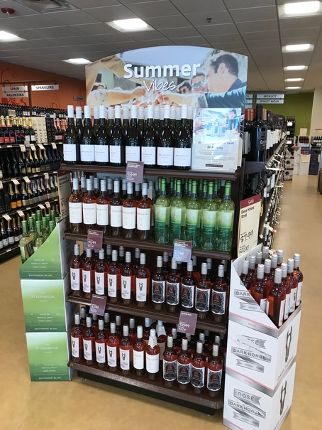 Beverage retailers such as the Pennsylvania Liquor Control Board (wine display pictured) are seeing rosé wine continue to rise in popularity, especially during the summer.