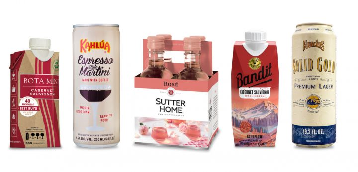 Convenience store marketers and retailers are seeing opportunity for popular packaging alternatives, especially single-serve products such as (from left) 500-ml. Bota Mini Cabernet Sauvignon packages, 200-ml. Kahlúa espresso-flavored Martini cans, 187-ml. Sutter Home rosé bottles, 500-ml. Bandit Cabernet Sauvignon Tetra Paks, and 19.2-ounce cans of Founders Brewing Co. craft beer.