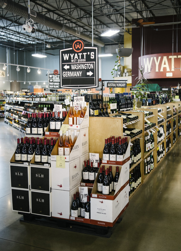 Wyatt's carries over 4,600 SKUs of wine (display pictured). Most domestic wines are grouped by varietal, while imports, Oregon, and Washington wines are shelved by region. (Photo by Matt Nager)