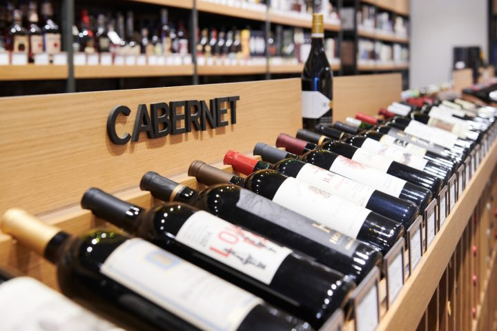 Fine wine (Cabernet Sauvignon display at Downtown Crossing store pictured) from Old World regions dominates at Gordon's, comprising 55% of overall sales.