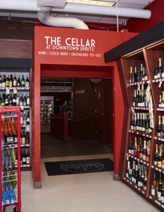 Members of the Wine & Spirits Guild of America—which Downtown Spirits joined four years ago—have been a great resource to the store (The Cellar entry pictured).