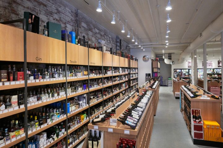 Spirits (display wall pictured), namely whisk(e)y, Tequila, and gin, account for 30% of revenue at Gordon's.
