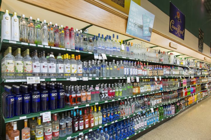 Vodka (shelf pictured) is the dominant spirits seller at Haskell's, with leading offerings including Tito's Handmade vodka.