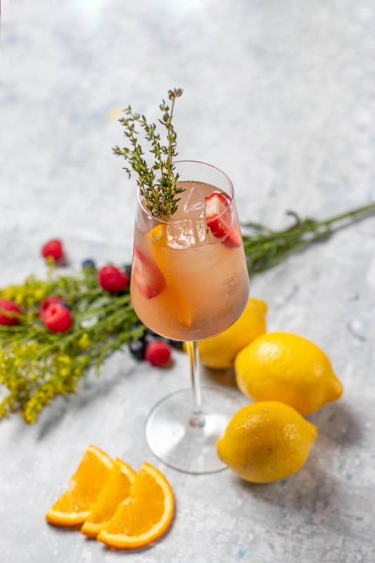 At Toca Madera, cocktails include the Rosé Sangria (pictured), which mixes Giffard Crème de Pêche de Vigne liqueur with Combier original d'orange liqueur, Ketel One Botanical Peach Orange Blossom vodka, Curran Rosé, and orange and lemon juices.