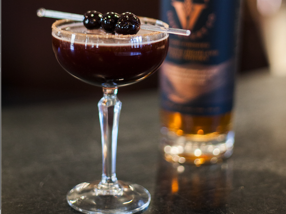 Many craft distillers use innovative whiskies to update classic or historical drinks. Virginia Distillery Co. recreates a punch called Cherry Bounce (pictured), originally made by George Washing- ton, with its Port Cask Finished malt whiskey.