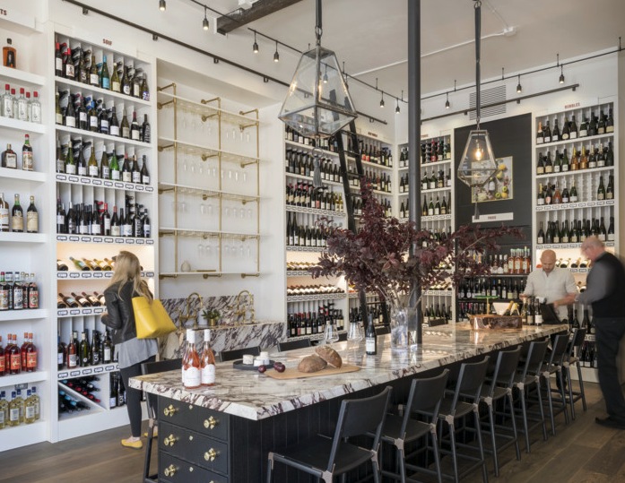 Both Verve Wine stores have a communal table—marble in San Francisco (pictured) and wood in New York—to evoke a sense of hospitality and community.