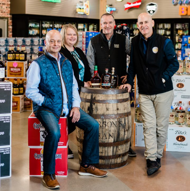 Left to right: Cap n' Cork vice president and secretary Joe Doust, Jr., marketing director Rachel Burkholder, beer buyer Brent Parker, and president Andrew Lebamoff are seeing overall success in Fort Wayne; sales rose 4% in 2018 to $28 million.