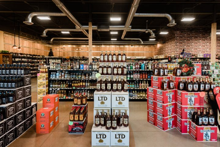 Cap n' Cork's spirits selection (displays pictured) includes 3,500 SKUs at its stores. Spirits are the largest category at the Fort Wayne, Indiana company, accounting for 42% of sales.