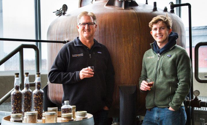 Starlight Distillery (co-owner and master distiller Ted Huber and son Christian, distiller, top) boasts six brandies in its portfolio.