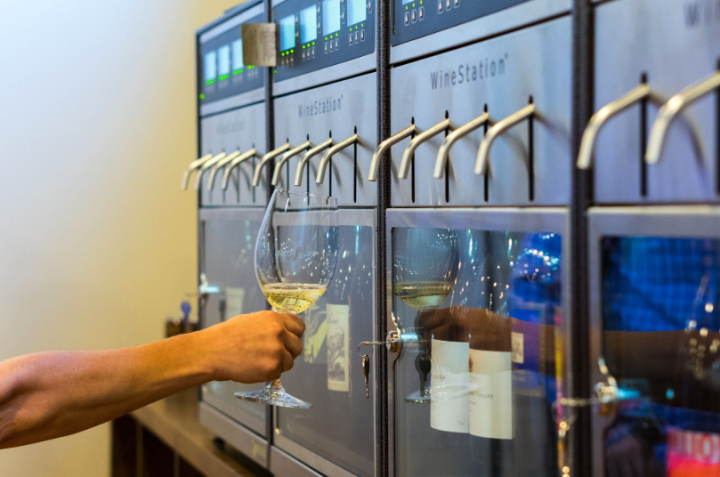 Gary's offers 24 wines by the glass at a tasting station (pictured), so customers can ship while they shop.