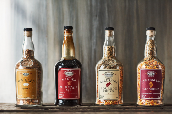 Berkshire Mountain Distillers' varied portfolio launched with Ragged Rum, and eventually came to include Ice Glen vodka, Bourbon, and New England corn whiskey (decorative display pictured), among other expressions.