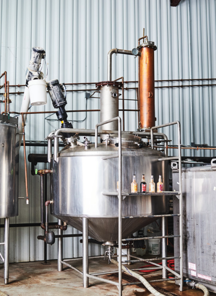 Small-batch gin (tank pictured) has become BMD's cornerstone, with the distillery's flagship, Greylock, launching in 2009 at $30 a 750-ml.