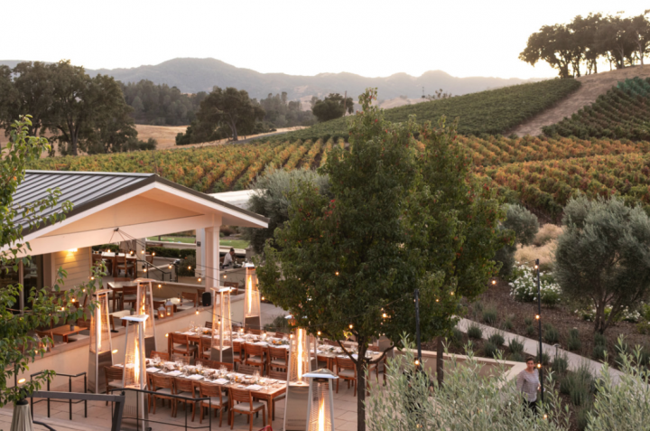 California wineries like Justin (outdoor dining pictured) are seeing success by partnering with national restaurant chains.