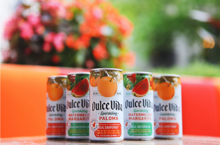 The Dulce Vida Sparkling Canned Cocktails (pictured) come in three varieties: Paloma, Margarita, and Watermelon Margarita. To use less sugar, each RTD offering is made with Dulce Vida Blanco Tequila, real fruit, and fresh lime juice.