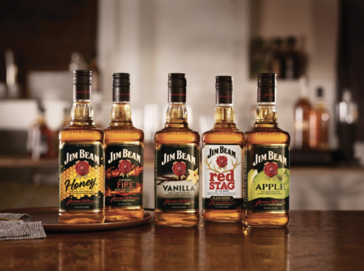 Crown Royal Canadian whisky, Jack Daniel's Tennessee whiskey, and Jim Beam Bourbon (flavored lineup pictured) have been the most successful brands in terms of flavors.