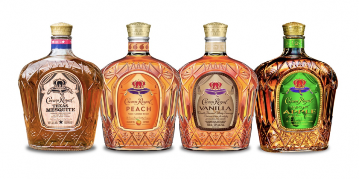 Diageo's Crown Royal (flavored whisky lineup pictured) is no stranger to innovation. Along with year-round offerings Apple—the No.-2 flavored whisky in the U.S.—and Vanilla, the brand offers limited-edition seasonal flavored offerings.
