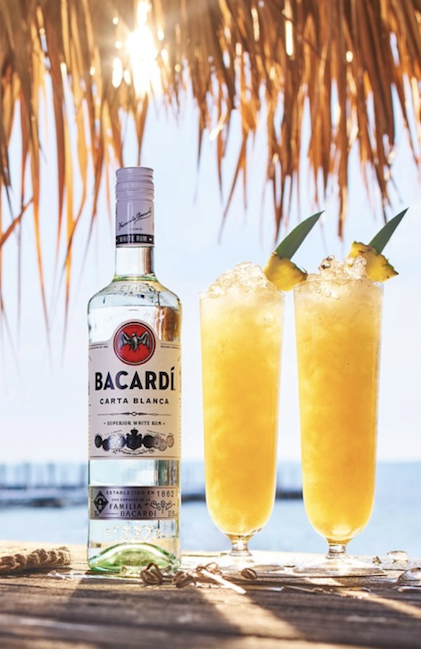 The top rum brand in the U.S., Bacardi (cocktails pictured) had been declining for years until 2019, when it eked out a 1.1% increase.
