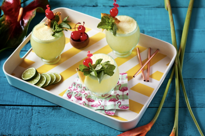 Though the rum category overall has been sluggish, Malibu rum (Malibu Lime Escape cocktails pictured) has seen steady gains over the past five years, with an average growth rate of 3.3%.