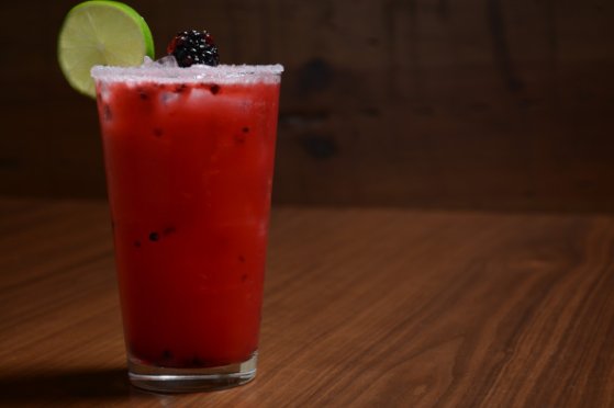 Sol's Blackberry Ginger Margarita (pictured) comprises Nosotros Blanco Tequila, lime juice, agave nectar, muddled blackberries and ginger, and soda water.