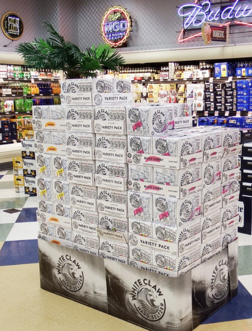 Retailers like Buehler's Fresh Foods in Ohio (display pictured) are bullish on hard seltzer, giving it plenty of shelf and cooler space.