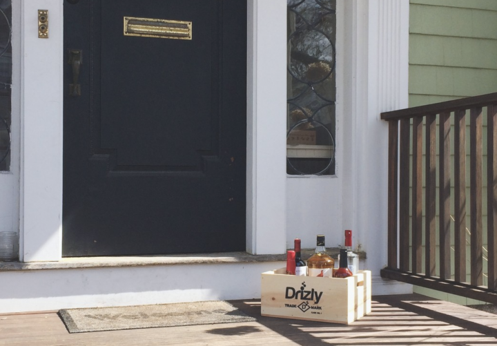 In terms of products, Drizly (delivery pictured) is seeing customers purchase premium cocktail ingredients. Syrups and mixers are trending as more people make drinks at home.