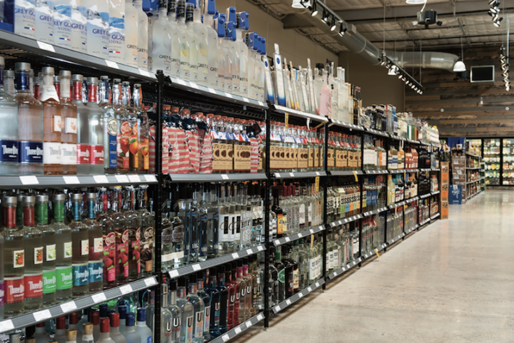 Despite trending down in Nielsen channels in 2019, vodka (shelves at Twin Liquors in Austin pictured) sales were up over 20% in March, April, and May.