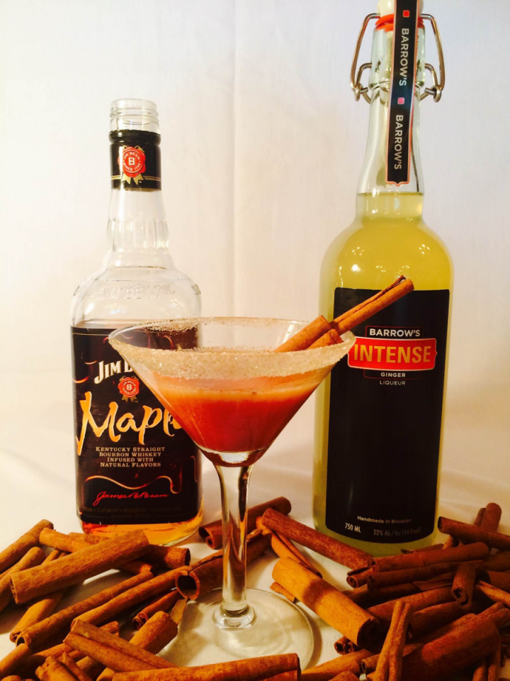 The Intense Fall Fusion blends Barrow's Intense ginger liqueur with Jim Beam Maple Bourbon and a pumpkin reduction.