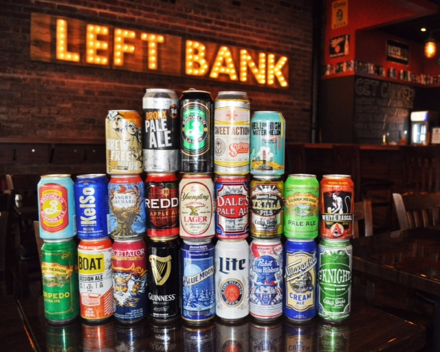 Left Bank Burger Bar in Jersey City, New Jersey, specializes in canned beer.