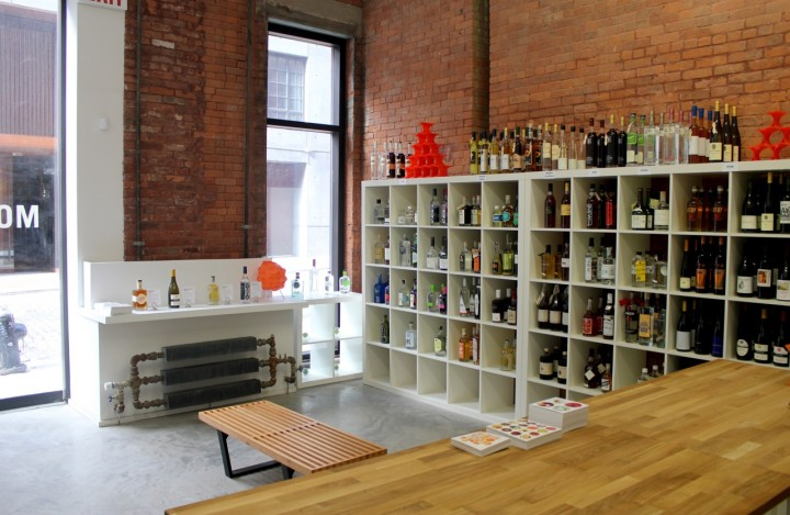 The brick-and-mortar location of Mouth.com focuses solely on beverage alcohol, offering nearly 200 SKUs of boutique American spirits and wine.