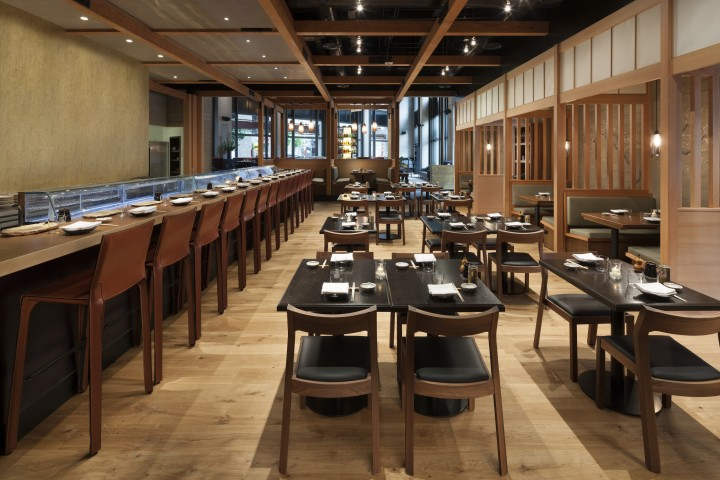 The design of Pabu in San Francisco serves high-end Japanese cuisine and features high ceilings and natural materials, inspired by the elements of air, earth and water.