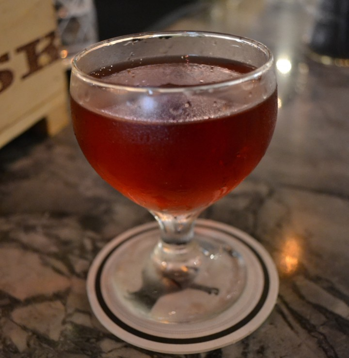 At Butcher and the Rye, the Rose from the Dead is made with hibiscus-infused Bluecoat gin, Vieux Carré absinthe, Cocchi Americano Rosa aperitivo, Luxardo maraschino liqueur and Fee Brothers Plum bitters. (Photo: Mike Mills)