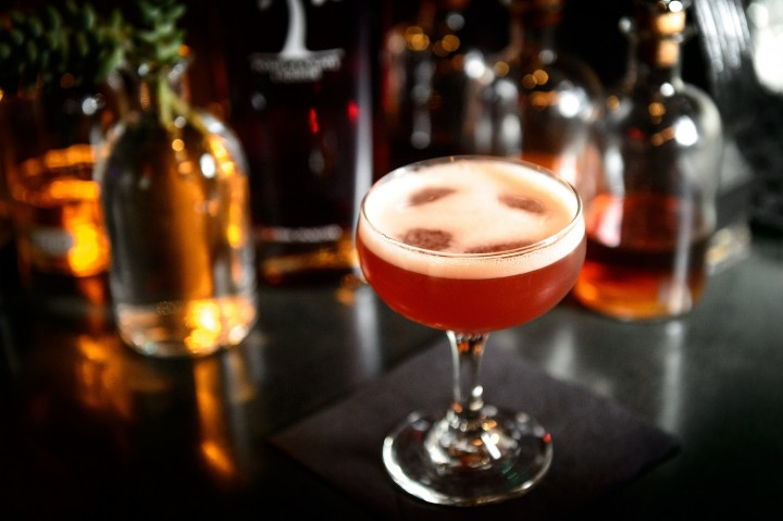 Ryan Gannon of Cure in New Orleans created the Law Abiding Citizen, mixed with Pama pomegranate liqueur, Sherry, fresh lemon juice and simple syrup.