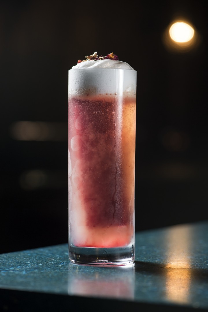 The Cold Roses cocktail at Nightbell is made with rosé-infused Tito's vodka and St-Germain liqueur.