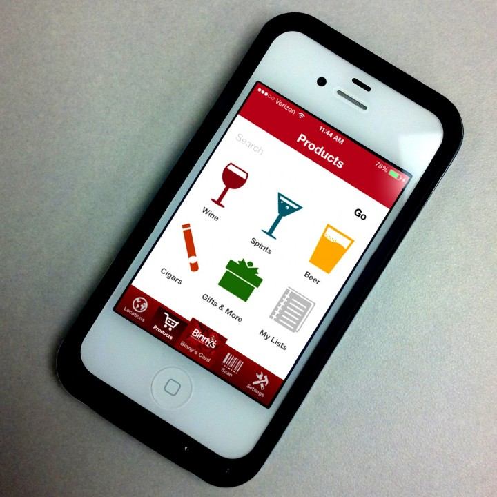 The Binny's smartphone application lets users check local inventory, scan items in stores and more.