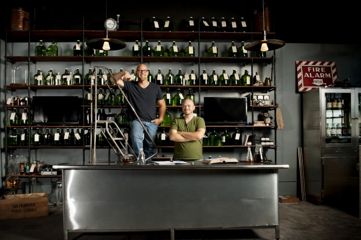 Owner and master distiller Lance Winters (left) and distiller Dave Smith (right) regularly experiment with new expressions in the company's test lab.