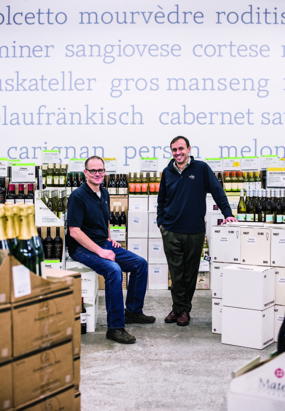 Peter Schwarzbach (right) took over his father's retail business, formerly called Wine Discount Center, in 2007, and rechristened it Vin Chicago. He relies on a team of trusted employees, including Chicago store manager Mike Baker (left).