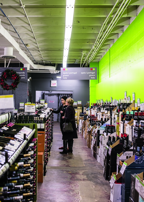 Vin Chicago features a warehouse-style layout and stocks a vast array of 4,500 wines, many from unusual or remote regions.