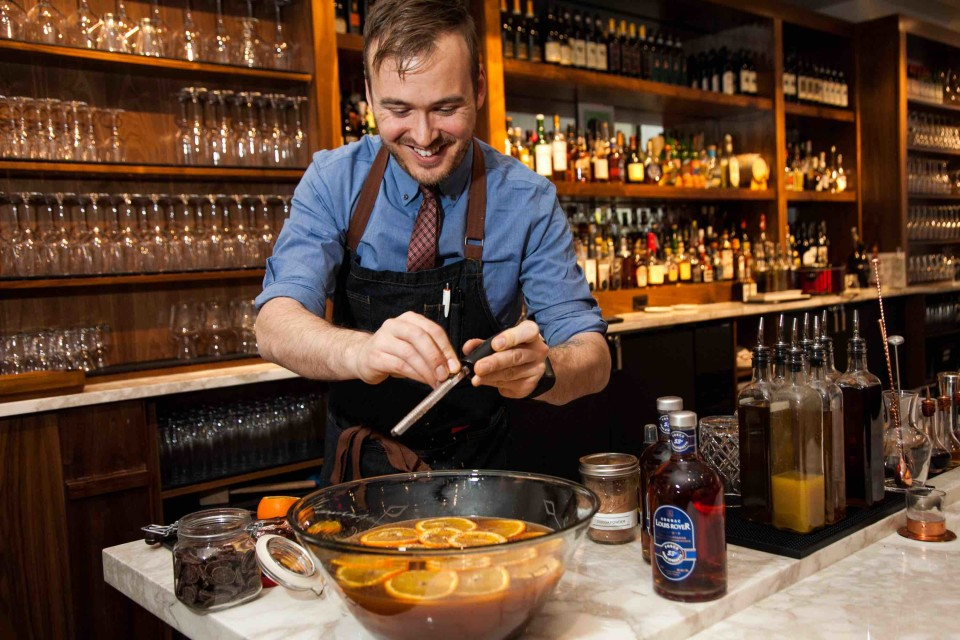 At New York City's Da Claudio, Jason Cousins offers the Riley's Punch, made with Cognac and Earl Grey tea.