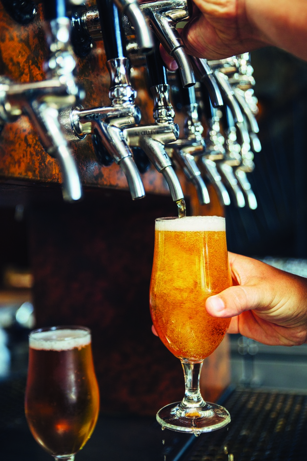 Beer producers like Stone Brewing Co. (taps pictured) are increasingly offering lower-alcohol brews for consumers who want to enjoy several during one session. Running counter to the high-gravity craft craze, lower-alcohol brews are giving consumers  a lighter alternative.
