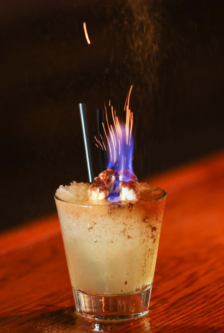 North Hollywood, California's Tiki No bar garnishes the Toasted Marshmallow cocktail with a flaming marshmallow.