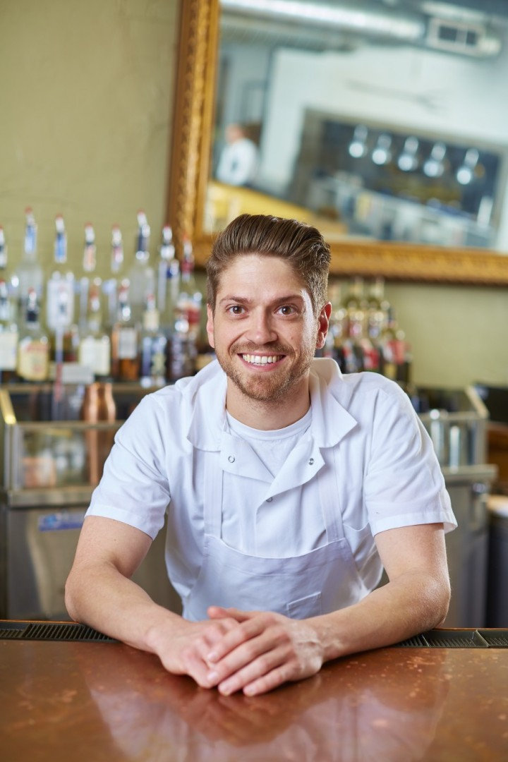 Peter Kreidler, sous chef at Clay Pigeon in Fort Worth, Texas, uses his culinary knowledge to make cocktails.