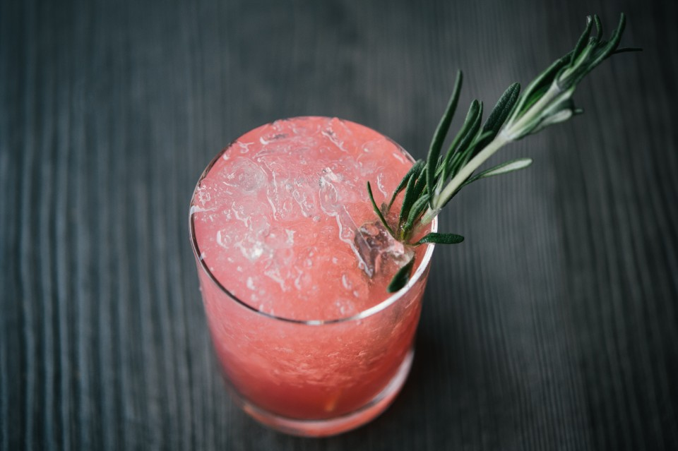 Eureka's cocktail program includes both classic recipes like a rye whiskey–based Old Fashioned and signature drinks like the Rosemary's Ruby Red (pictured), made with gin, bitters, lemon, grapefruit and rosemary simple syrup.