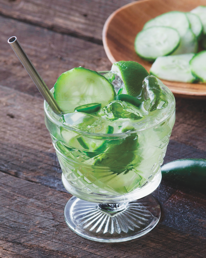 The traditional Caipirinha cocktail inspires many variations that play on cachaça's multifaceted taste profile. The Cucumber Jalapeño Caipirinha highlights the spirit's vegetal notes.