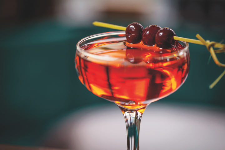 A custom creation, the Barbosa cocktail incorporates Aperol, cherry liqueur and bitters to round out the cachaça's different elements.