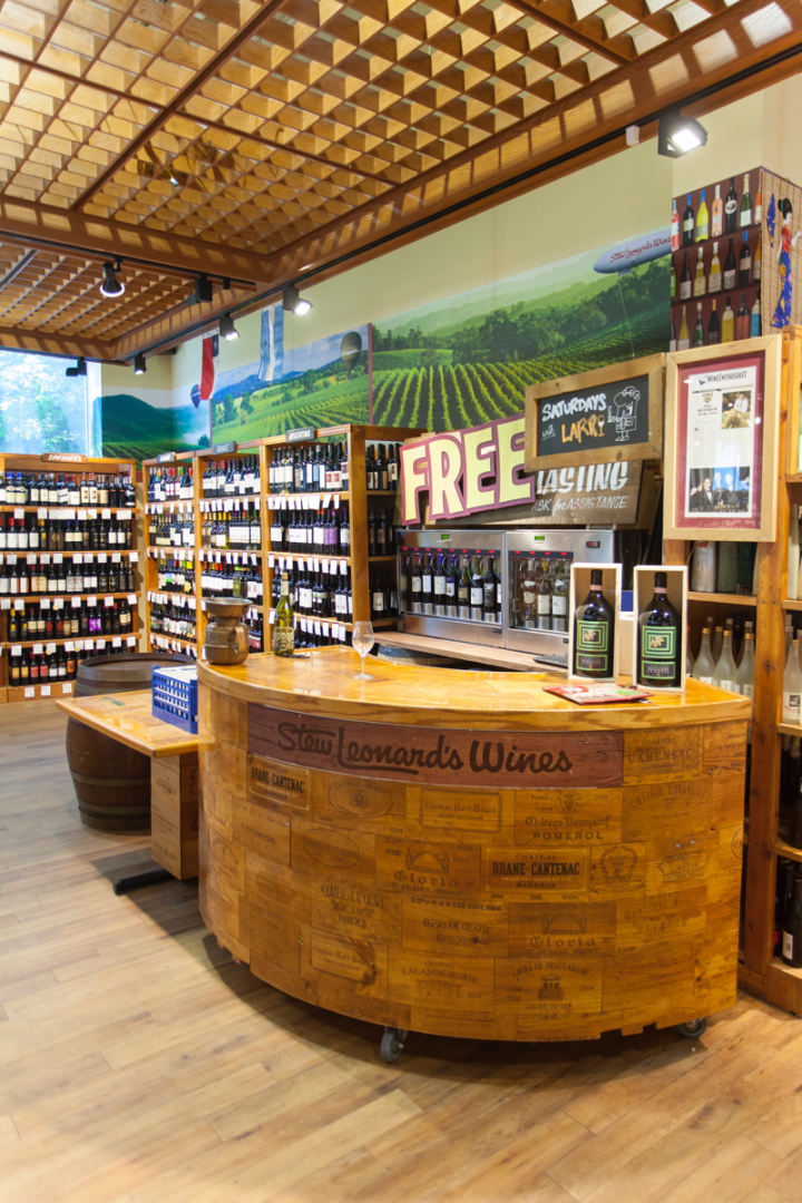 In-store sampling (tasting bar pictured) helps drive sales.