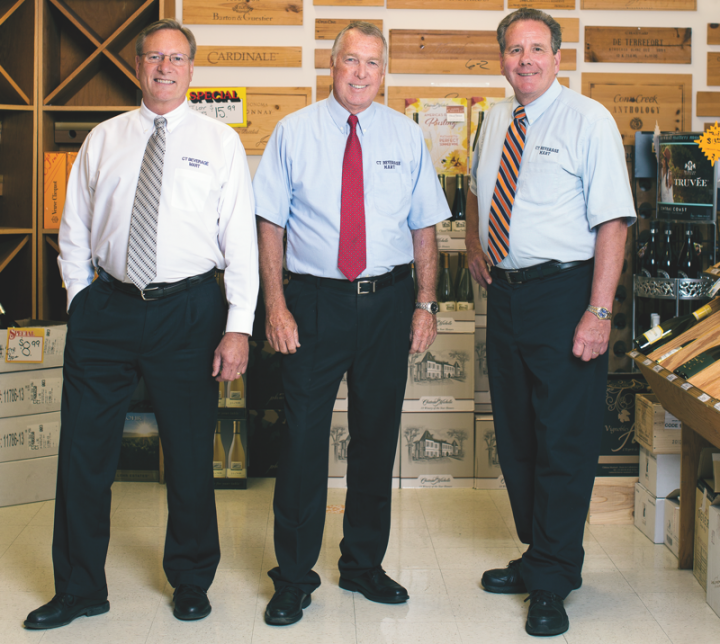 From left: Jim Valentine, Jim Ransford and Stephen Downes own CT Beverage Mart, which is one of the largest beverage alcohol retail chains in Connecticut. The company has stores in Newington, New Britain, Middletown and Wallingford.