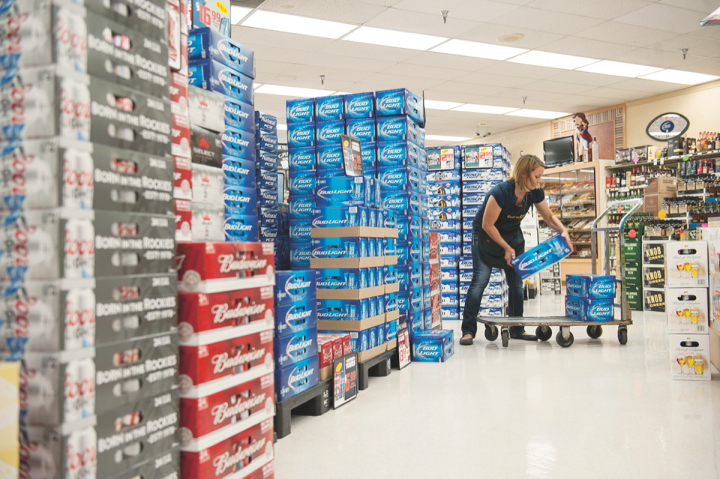 Cap n' Cork's beer selection favors Fort Wayne's blue collar demographic, with major domestic brands dominating.