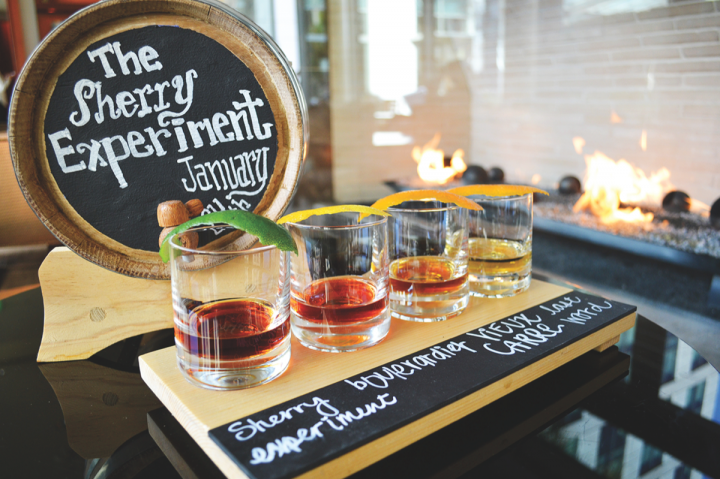 In East Palo Alto, California, the restaurant Quattro at the Four Seasons Hotel Silicon Valley serves four of its house-made barrel-aged cocktails in a sampler flight, allowing guests to compare each offering's unique flavor profile.